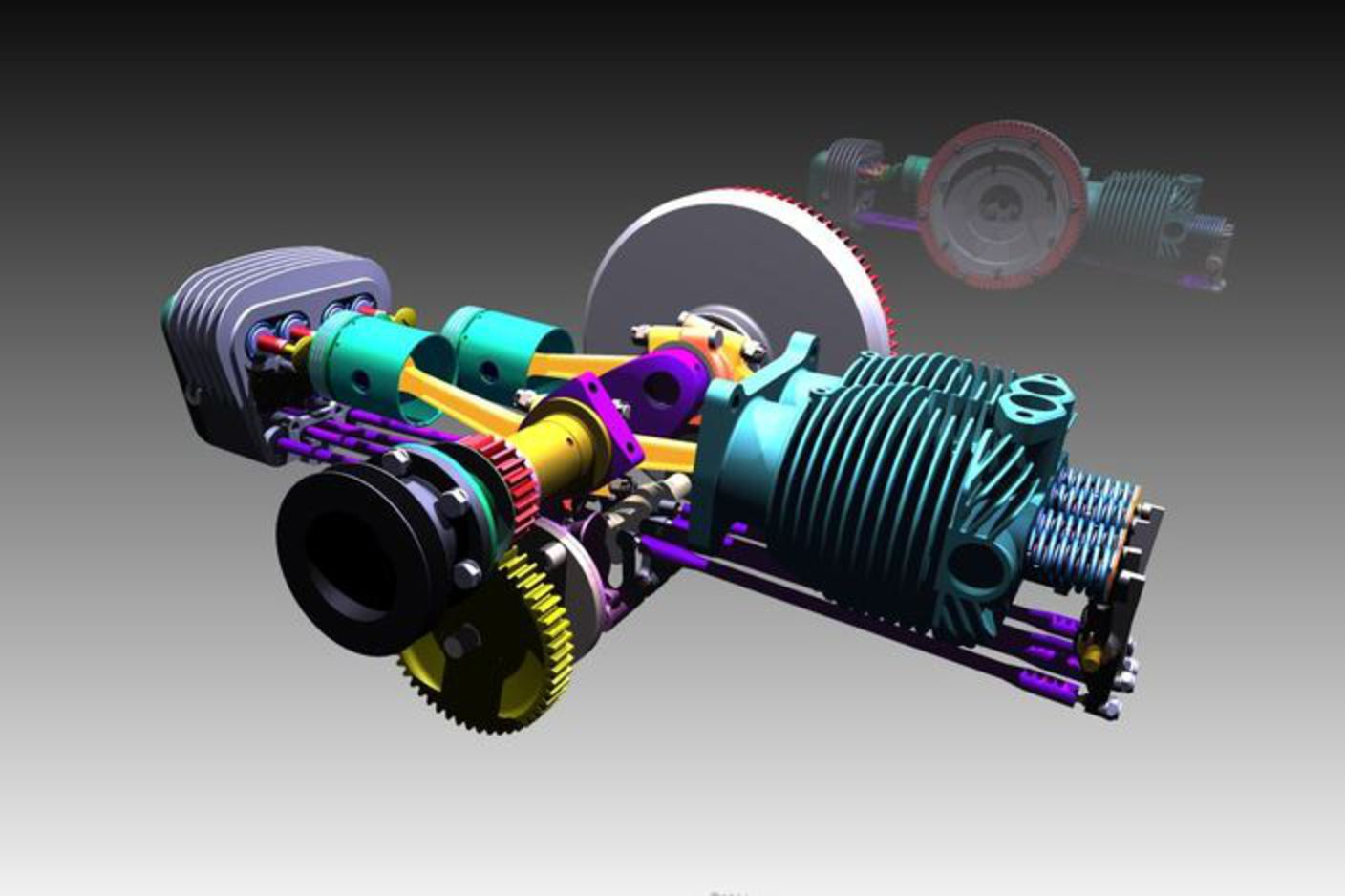 Tatra t57 engine - Autodesk Inventor, Other - 3D CAD model - GrabCAD