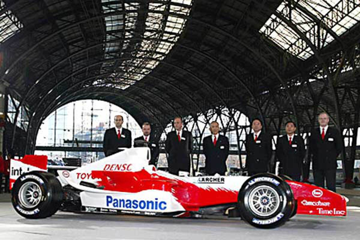 Toyota TF105 Launch. Mika Gascoyne's first complete car at Toyota was