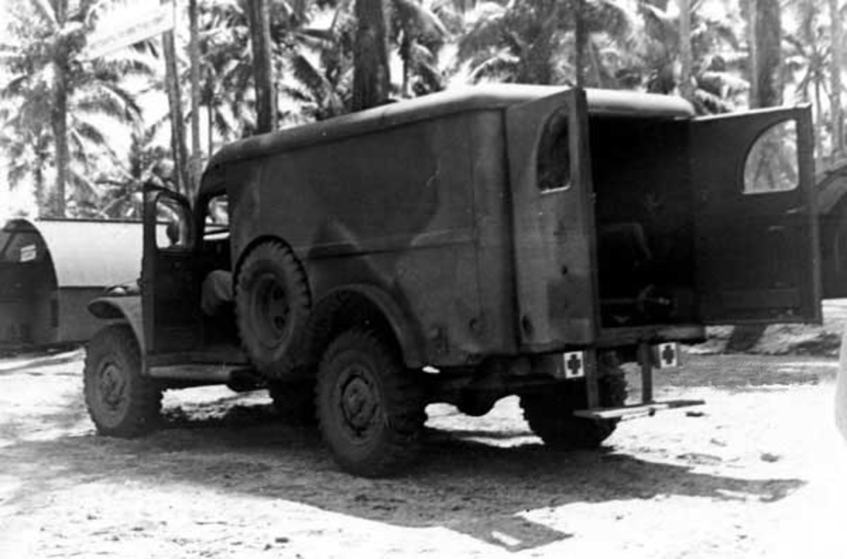 Dodge WC54 3/4-ton field ambulance in rare camouflage paint scheme, Pacific