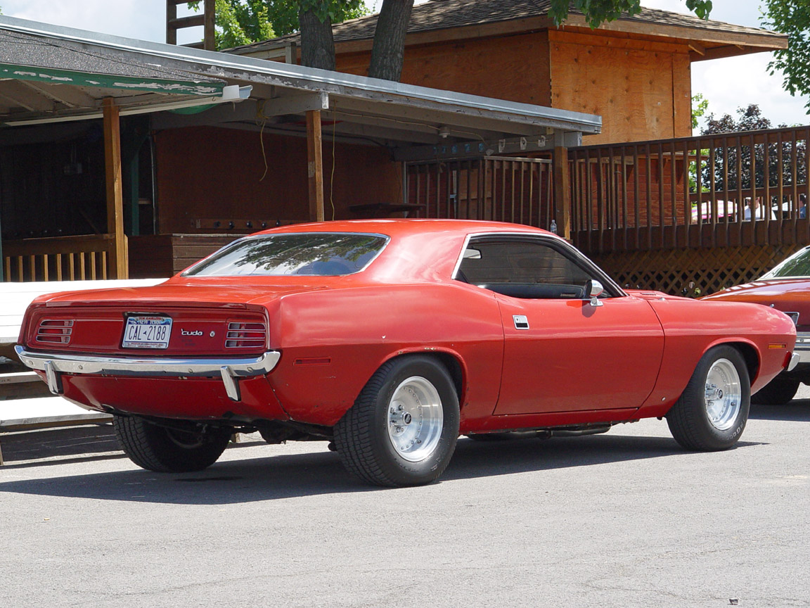 1970 Plymouth Cuda - Red - Rear Angle - 1152x864 Wallpaper