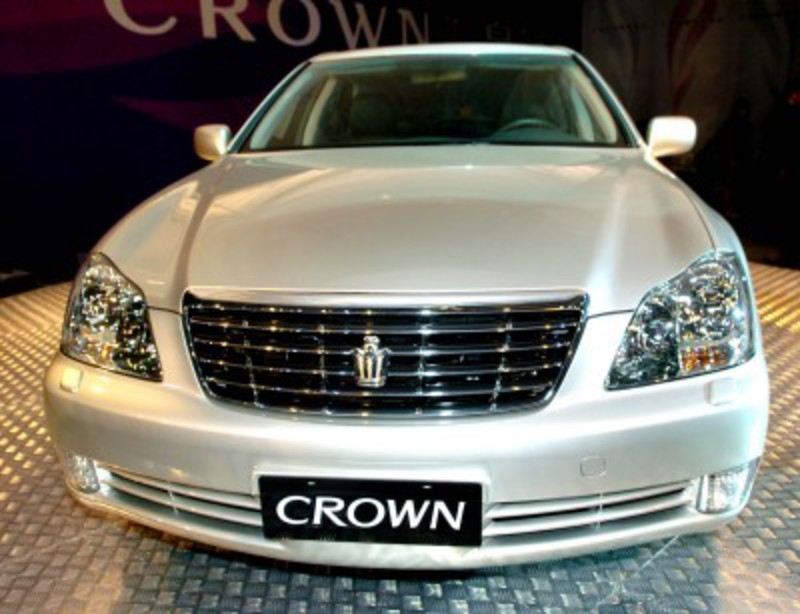 The 12th generation Toyota Crown sedan car drives off production line in