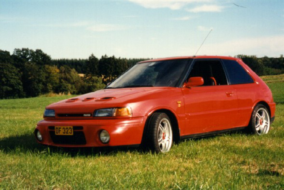 "Dan's Mazda 323 GT-R, in Luxembourg. He says ""It is a very fast car,"