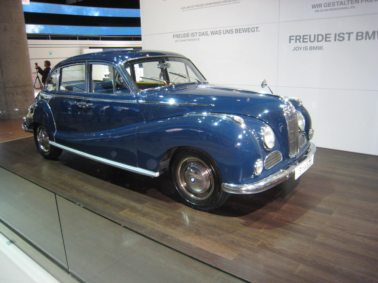 Prominently displayed inside BMW's new hall was a 1960 BMW 502 2.6 Luxus.
