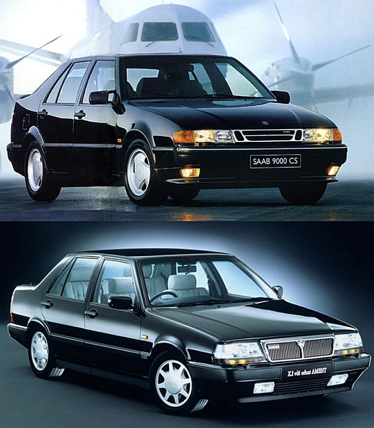 Also this Saab 9000 and this Lancia Thema shared platform and a very