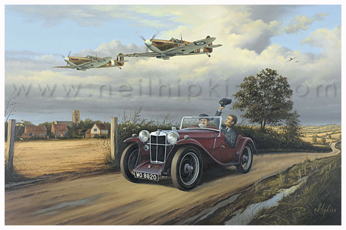 Spitfire & MG PA Midget | Aviation Art Prints | Neil Hipkiss