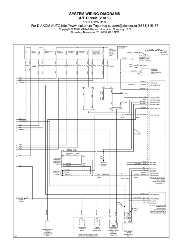 1997 BMW 318i Automatic Transmission Circuit System Wiring Diagrams Part 2