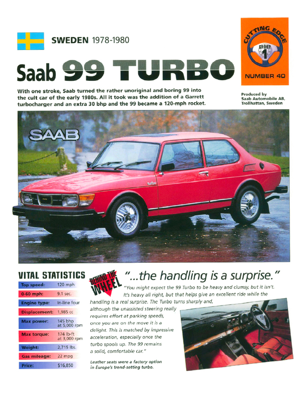 Sweden 1978-1980 Saab 99 Turbo (PDF: 5.6MB)