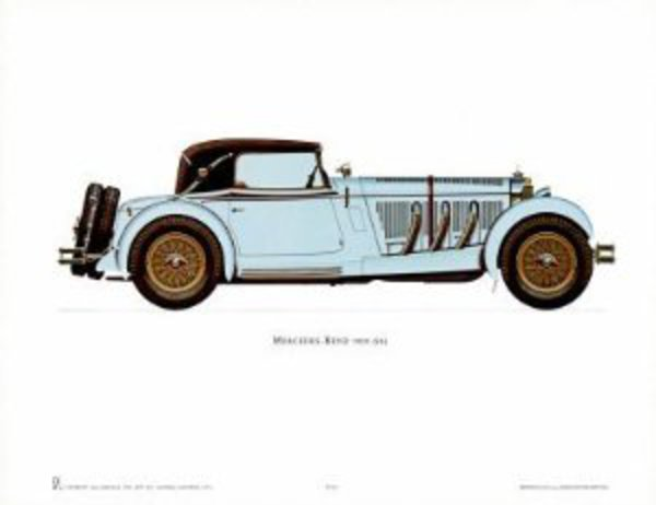 Amazon.com: Mercedes-Benz 1928 Art Poster PRINT Unknown 16x12: Home &