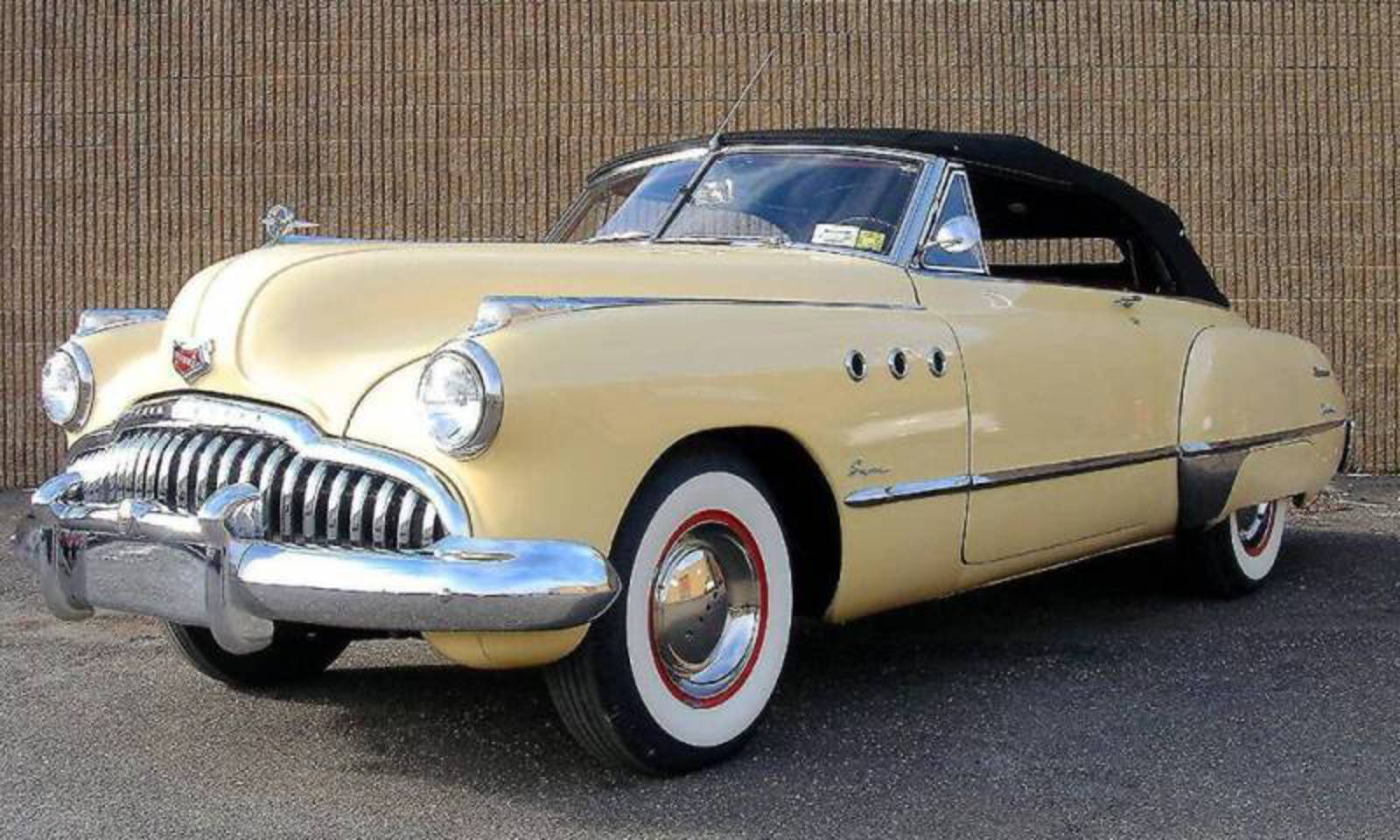 Yellow 49 Buick Super convertible with 248cid/115hp Inline 8 with an