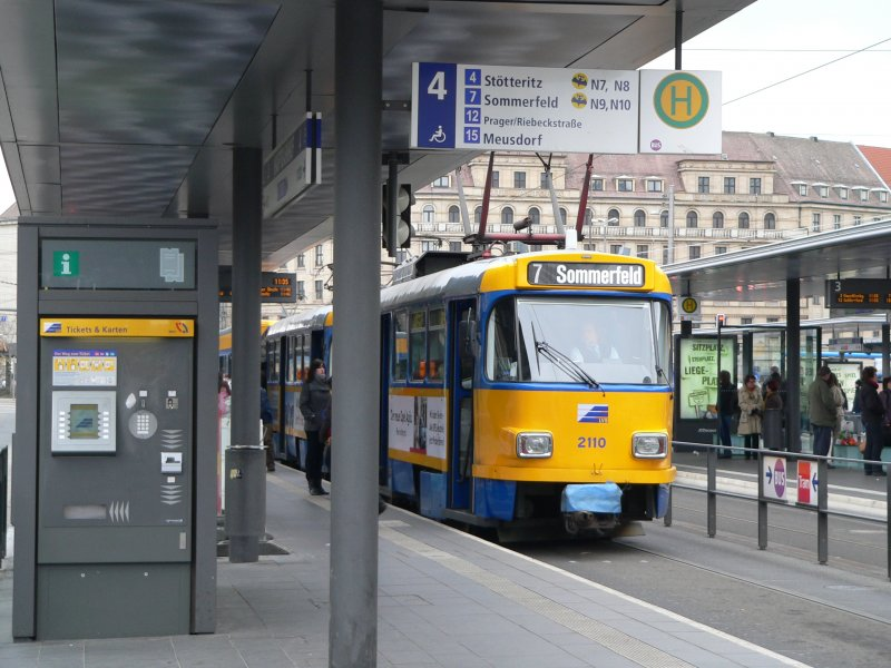 An old Tatra tram in Leipzig, Line 7 - Rail-