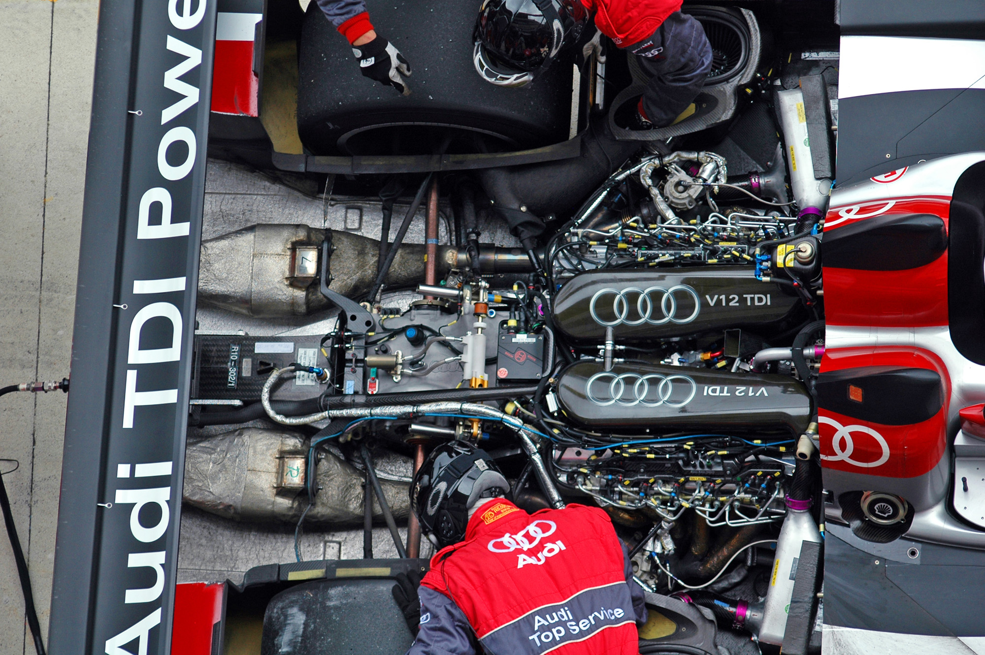 Closeup on the #3 Audi R10's engine | Flickr - Photo Sharing!