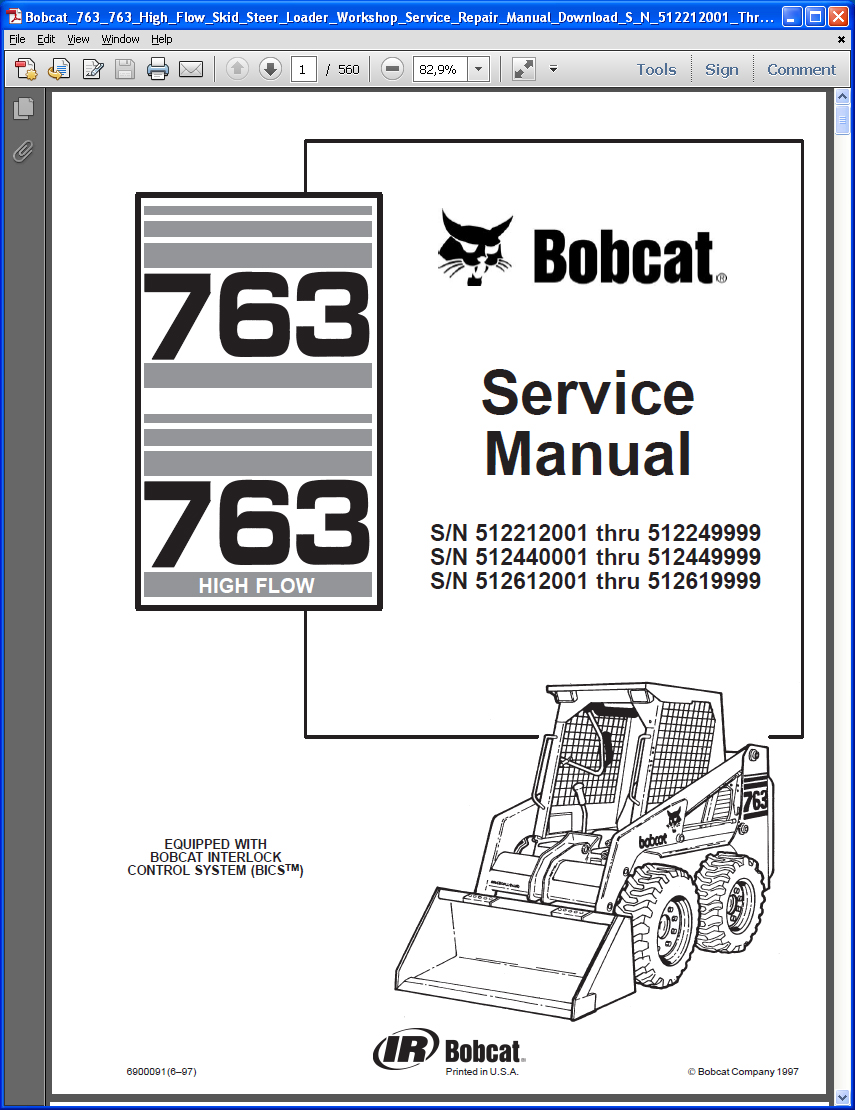 Bobcat 763, 763 HF, repair manual, Heavy Technics + Repair