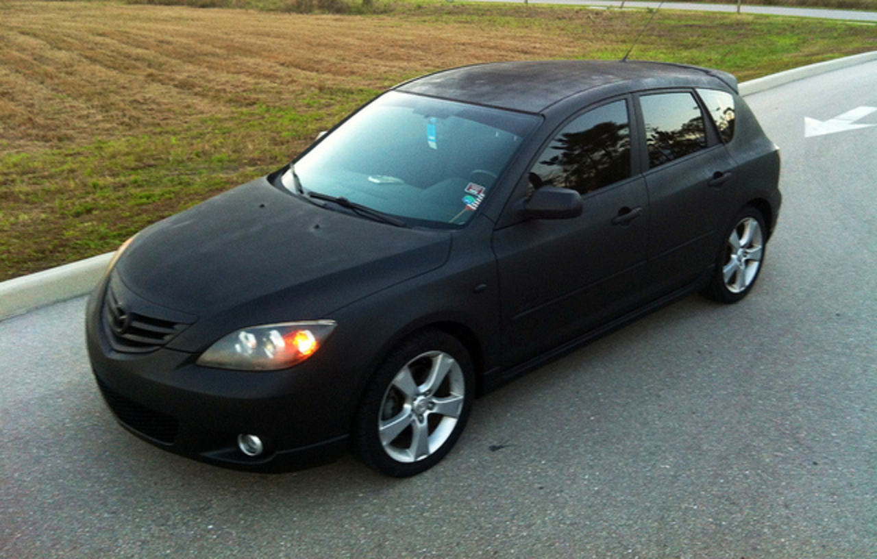 "murdered out"" Mazda 3 hatchie (all flat black, blacked out ..."
