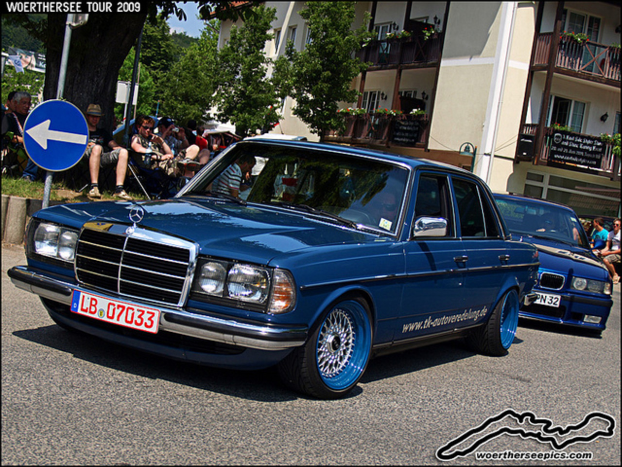 Blue Mercedes Benz W123 Tuning on BBS Split Rim Wheels at the ...