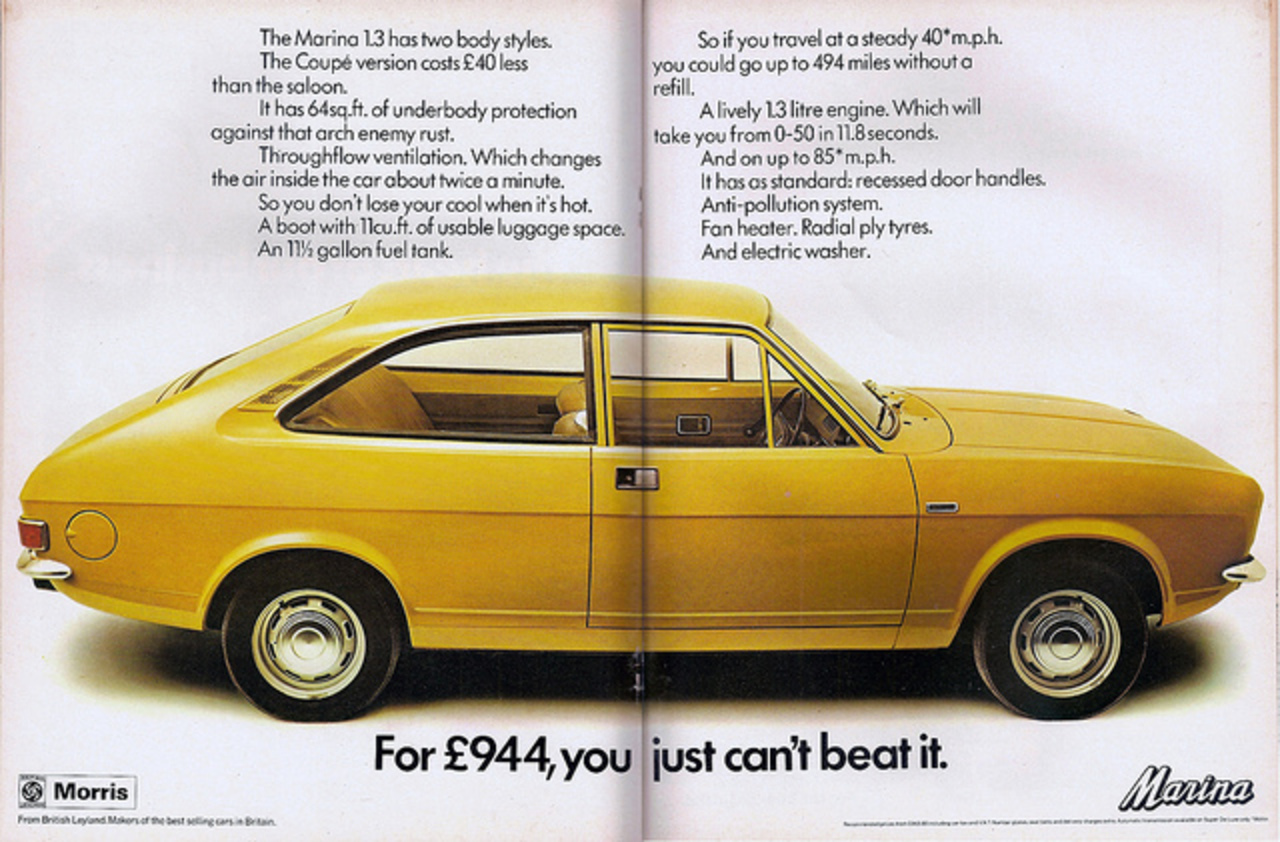 Morris Marina Coupe Advert 1973 | Flickr - Photo Sharing!