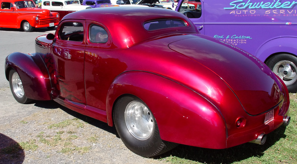 1940 Studebaker Champion Coupe - Maroon with Flames - Rear Angle