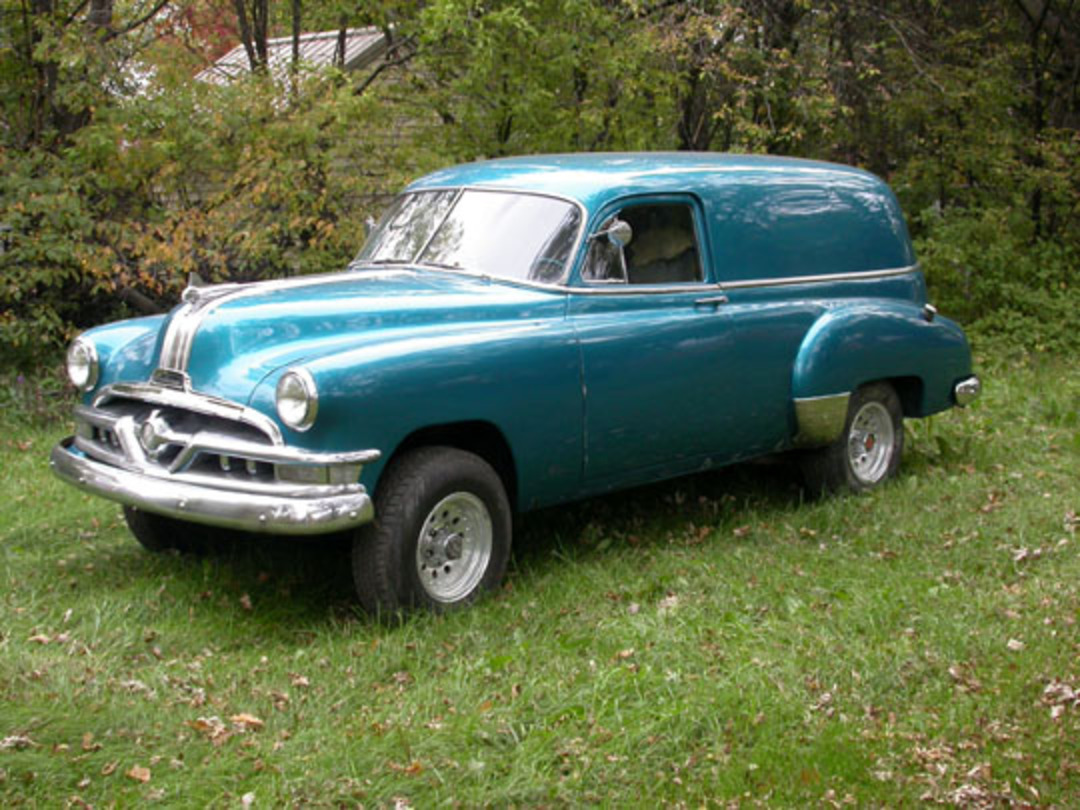 This is Marv's 1951 Pontiac Sedan Delivery. He says it is sitting on a 1979