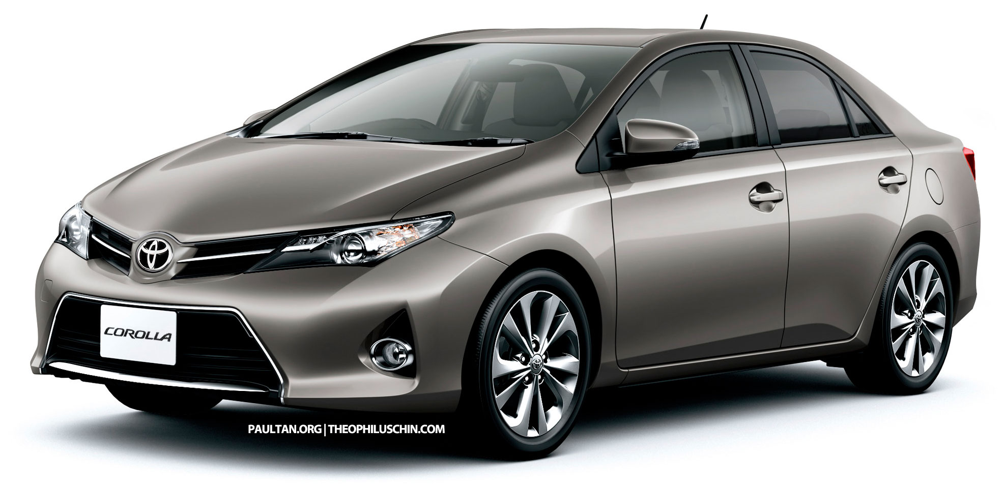 rendering of the 2014 Toyota Corolla by extending the Auris hatch.
