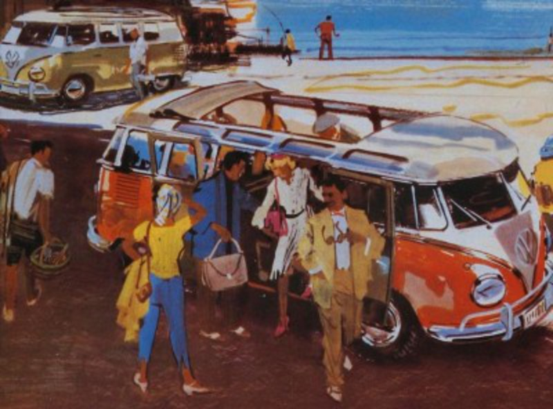 The first Volkswagen Bus, seen here in an early brochure, debuted in 1950