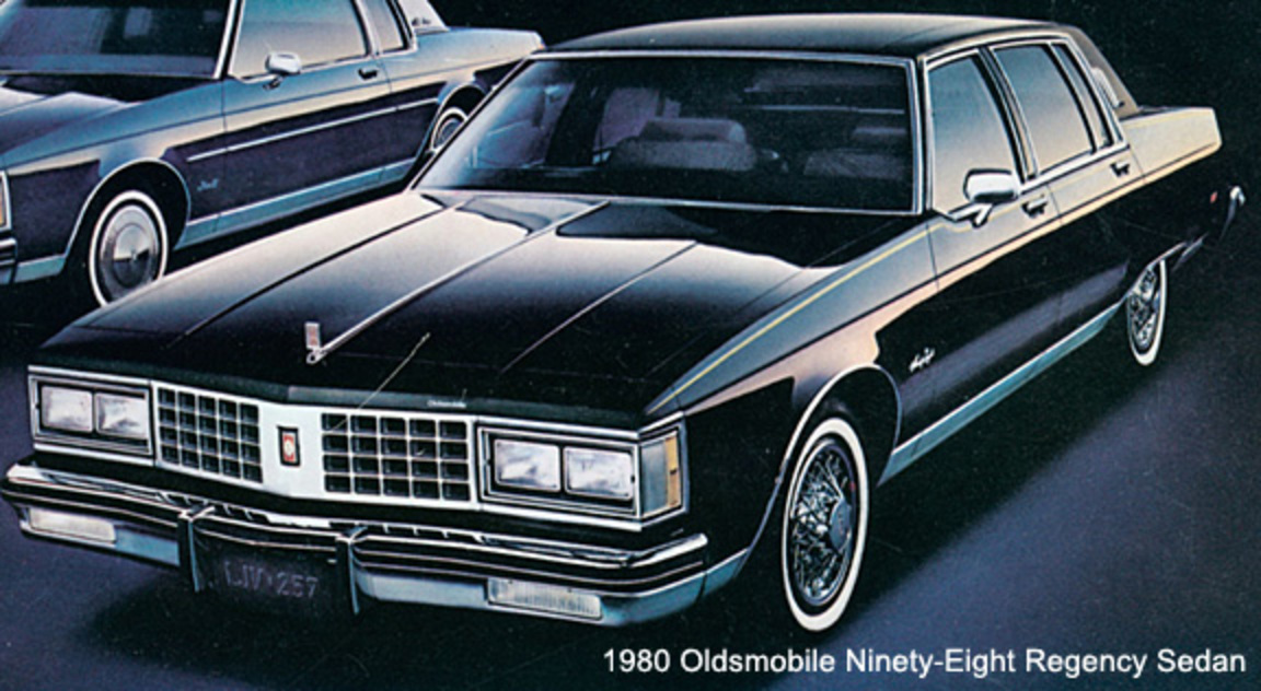 The new exterior for the 1980 Olds 98 was stunning with its formal roofline