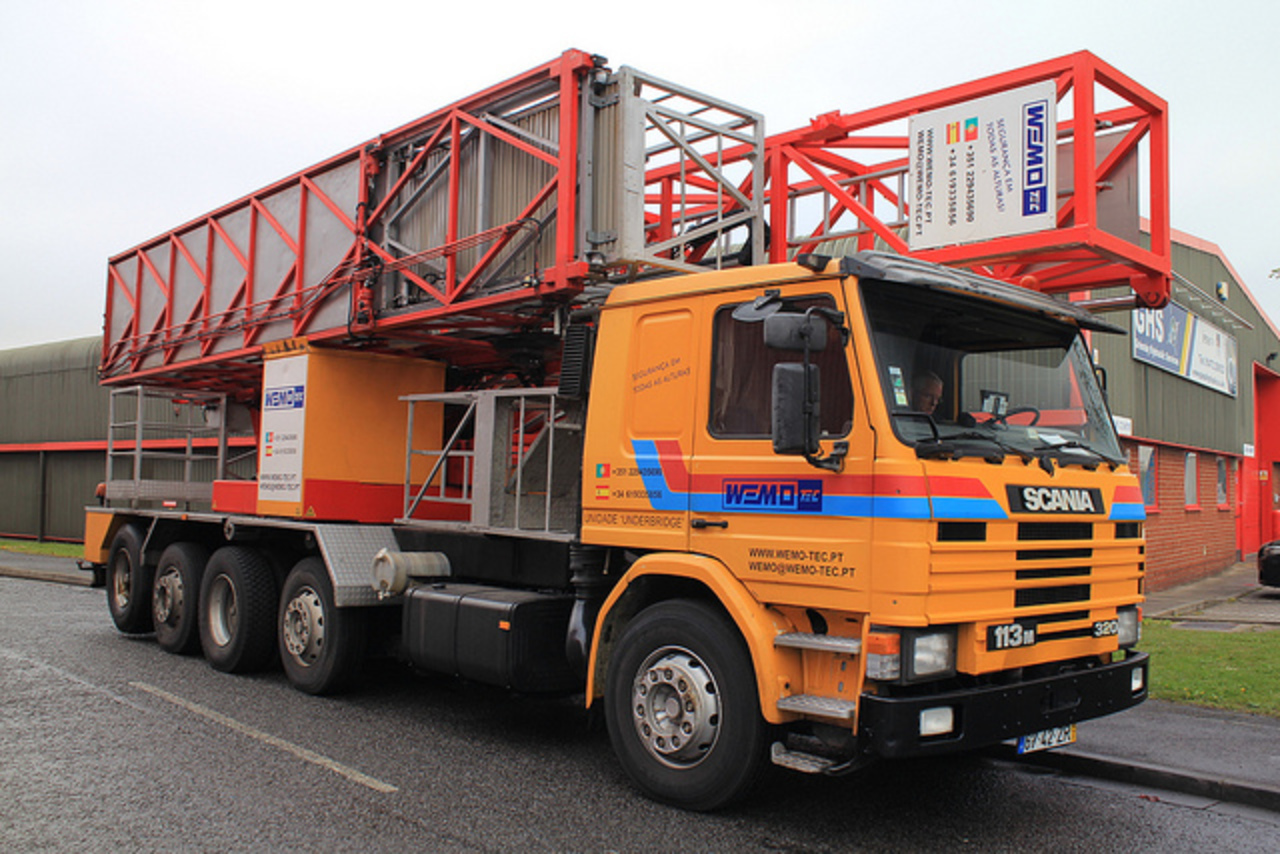 Saw this Scania 113M 320 mobile bridge maintenance platform,operated by WEMO