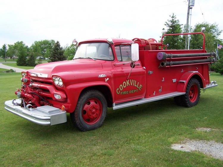 This is a 1958 GMC Fire Truck owned by Jack Cook, Jeffrey's father.