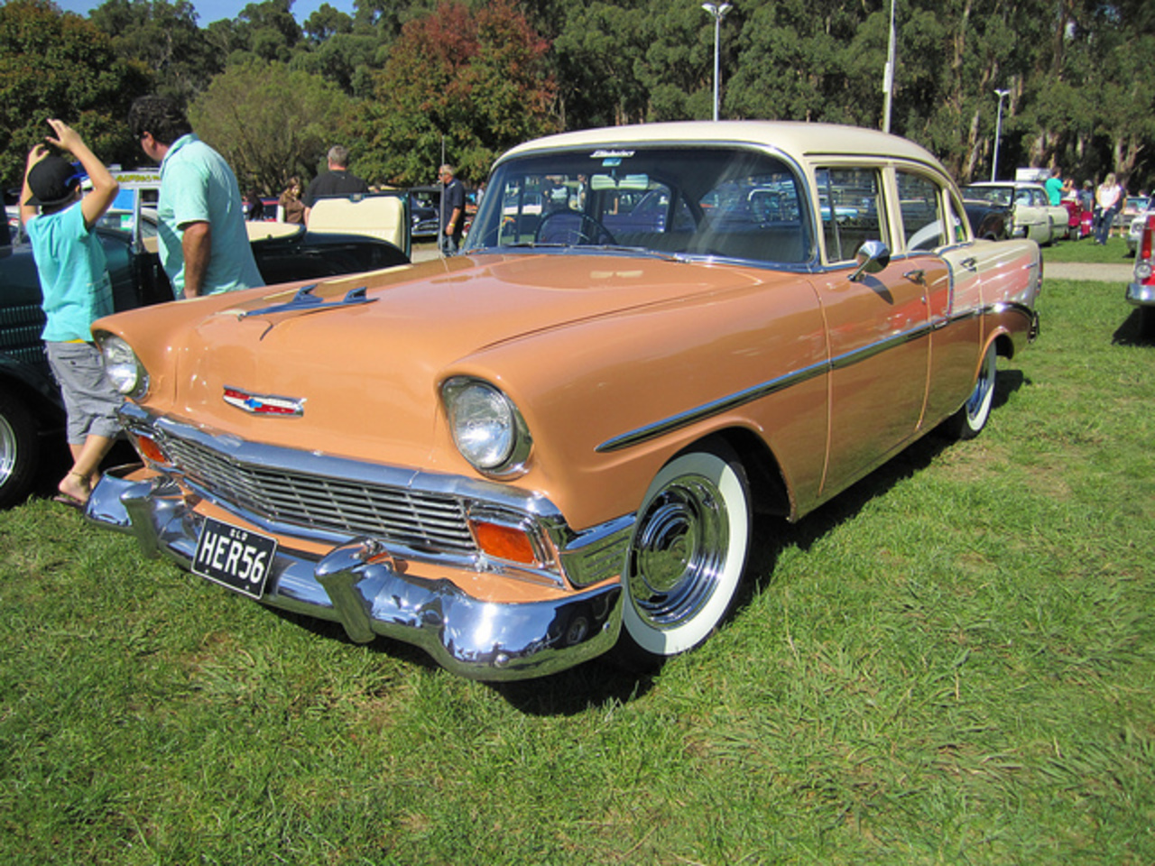 1956 Chevrolet 210 Sedan. The 1955 Chevrolet got a new chassis and new