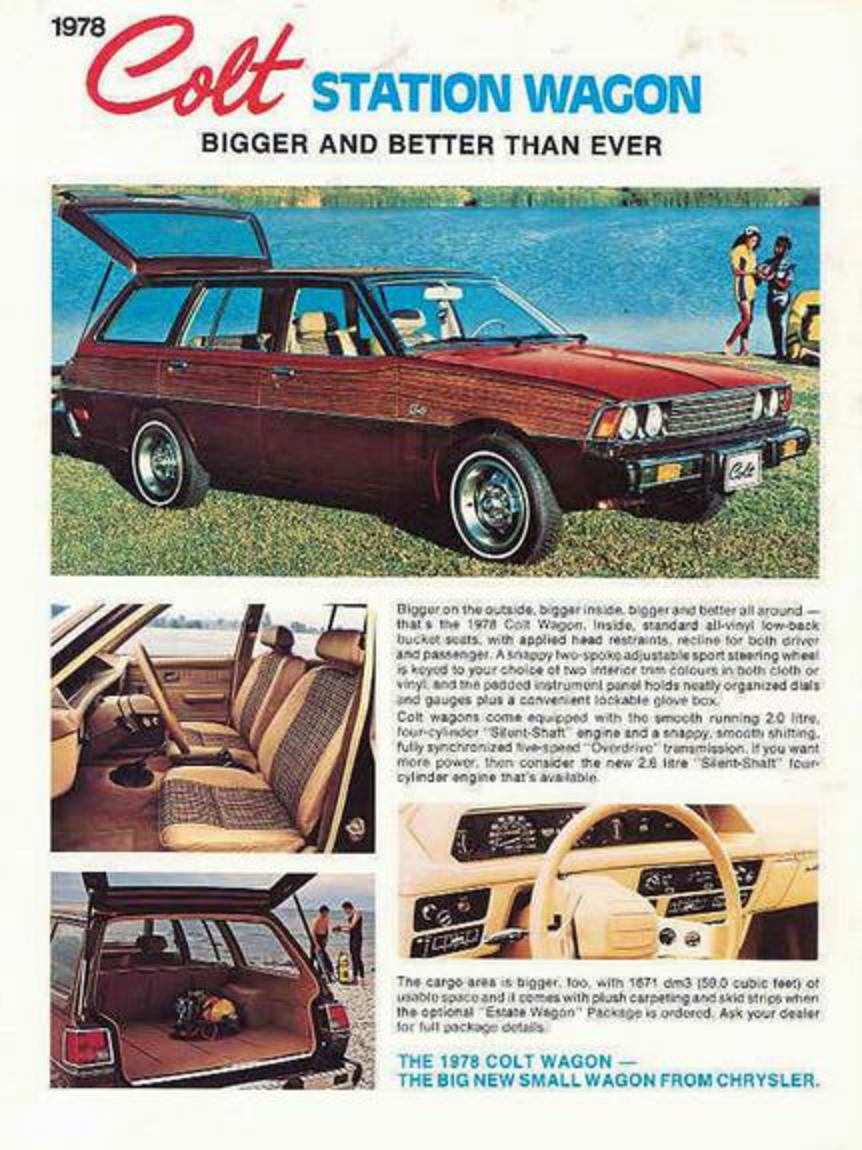 a US and Canada market pamphlet for the 1977 Dodge Colt Station Wagon.