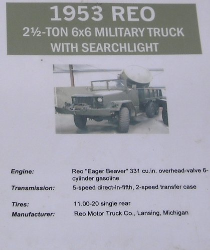 REO 2 Ton 6X6 Military Truck with Searchlight - specs