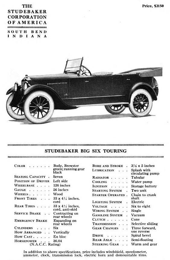 Studebaker Model EG Big Six tourer