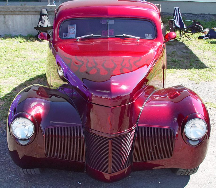 1940 Studebaker Champion Coupe - Maroon with Flames - Front