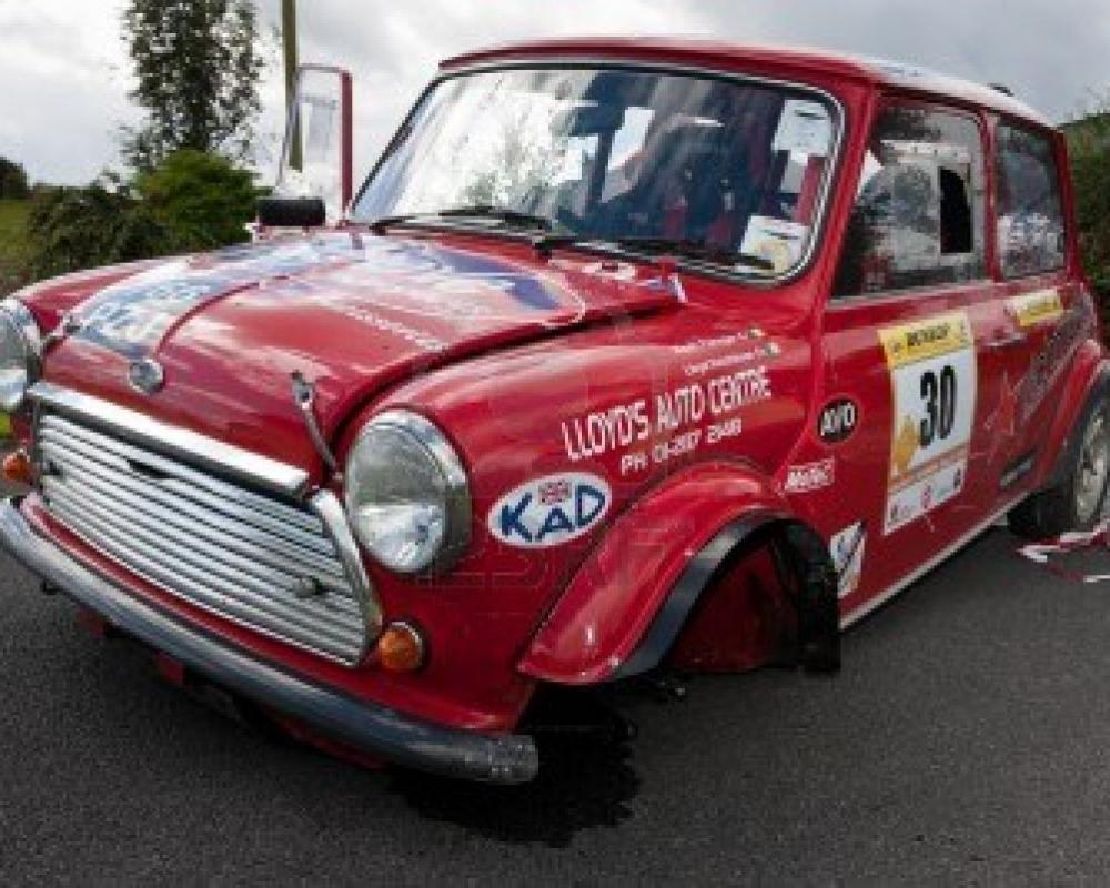 LOUGHREA - AUGUST 28: Damaged Red Austin Mini Cooper S After ...