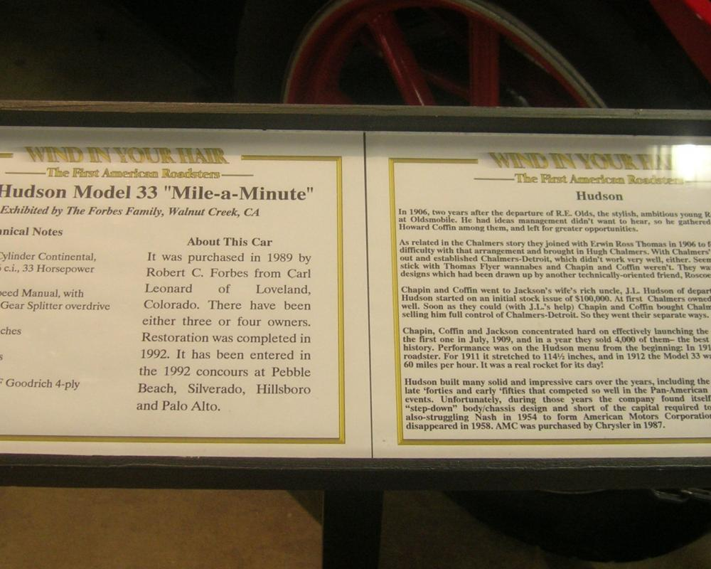 1912 Hudson Model 33 ''Mile-a-Minute'' Info | Flickr - Photo Sharing!
