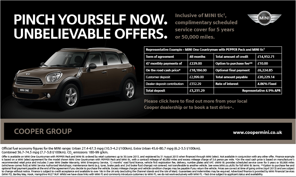 New MINI Offers Available Throughout The UK From Cooper MINI
