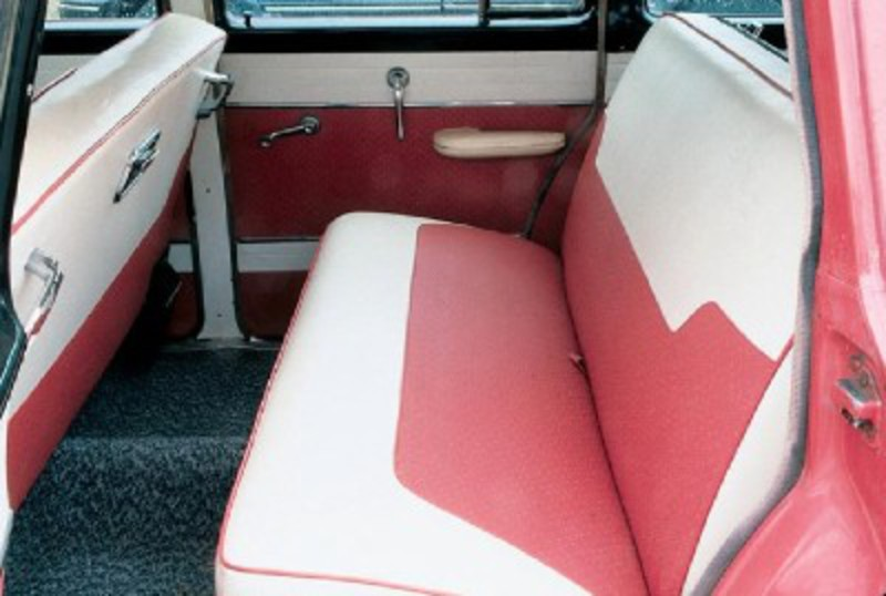 The two-tone theme is carried into the interior of this 1955 Dodge Royal