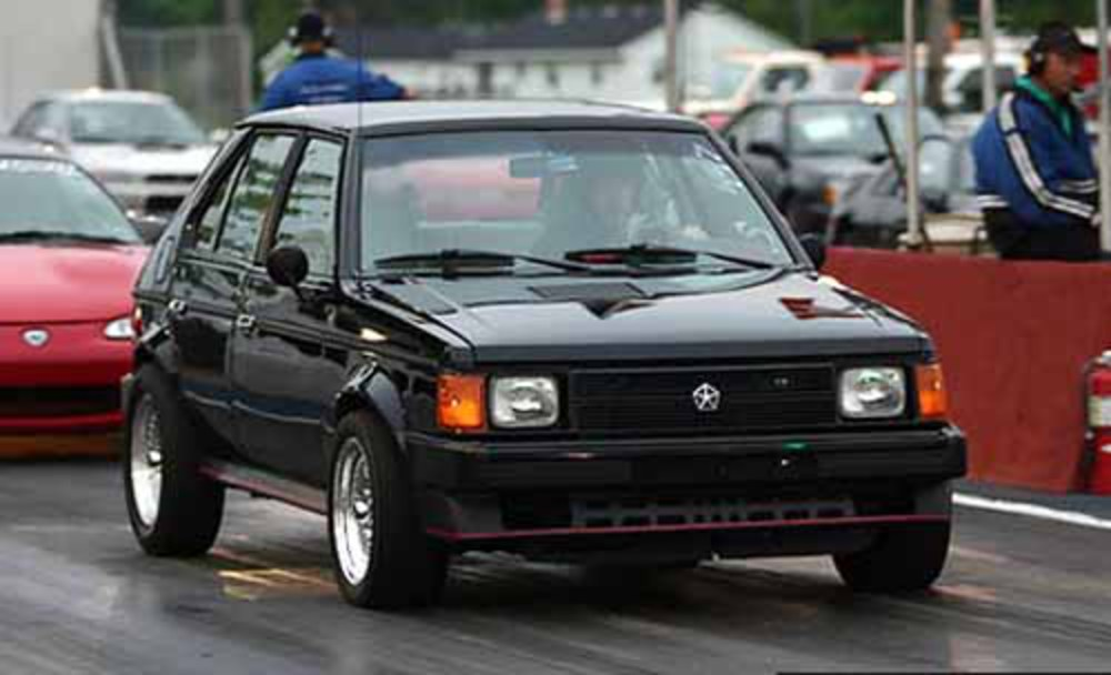 Don D's Dodge Omni (12.3 @ 111 mph). Custom recalibrated computer and Stage