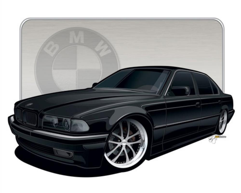 Just off the digital drawing board, is my wifes 1997 BMW 740il – Illustrated