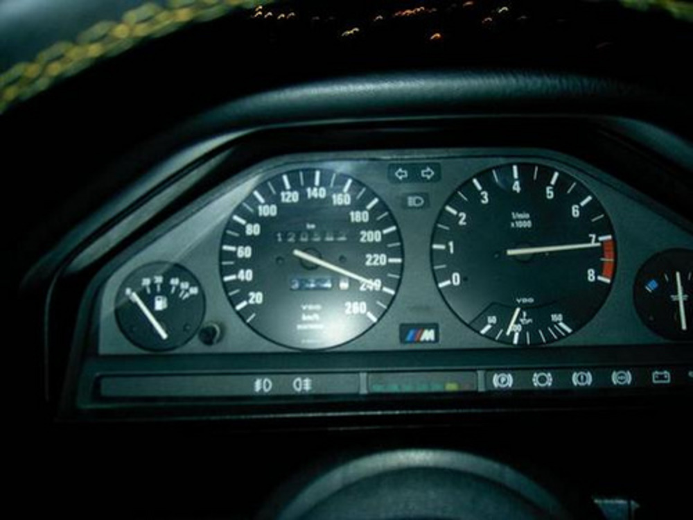 BMW 320is, 240 KMm/h @ 7200 rpm. Not that I drove it always at these speeds,