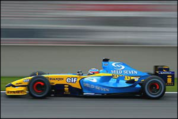 Fernando Alonso in the new Renault R24. Renault have honed last year's