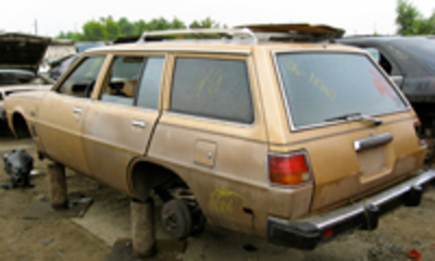 in a junkyard not that far away, comes this Dodge Colt Station wagon.