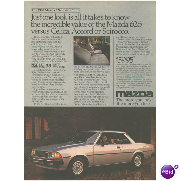 "1980 Mazda 626 Sport Coupe Ad approx 7.5""x10.5"""