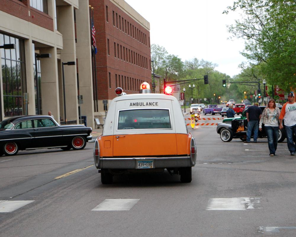 1968 Cadillac ambulance built by Miller-Meteor. Leaving a car show ...