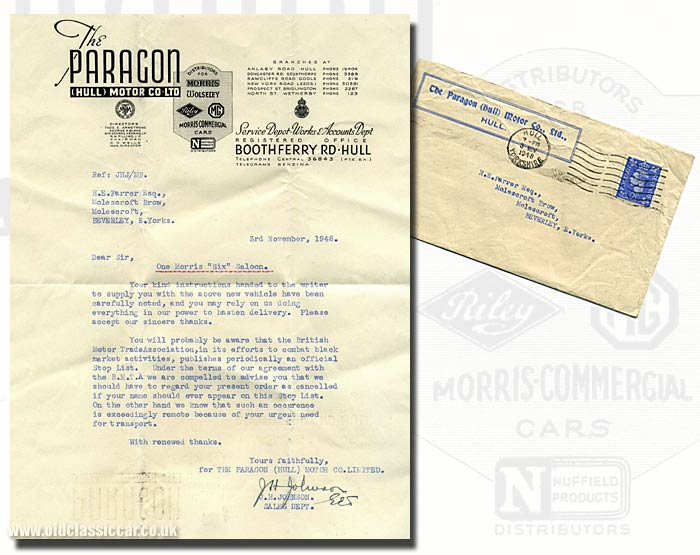 Letter regarding a Morris Six car by The Paragon (Hull) Motor Car Co.