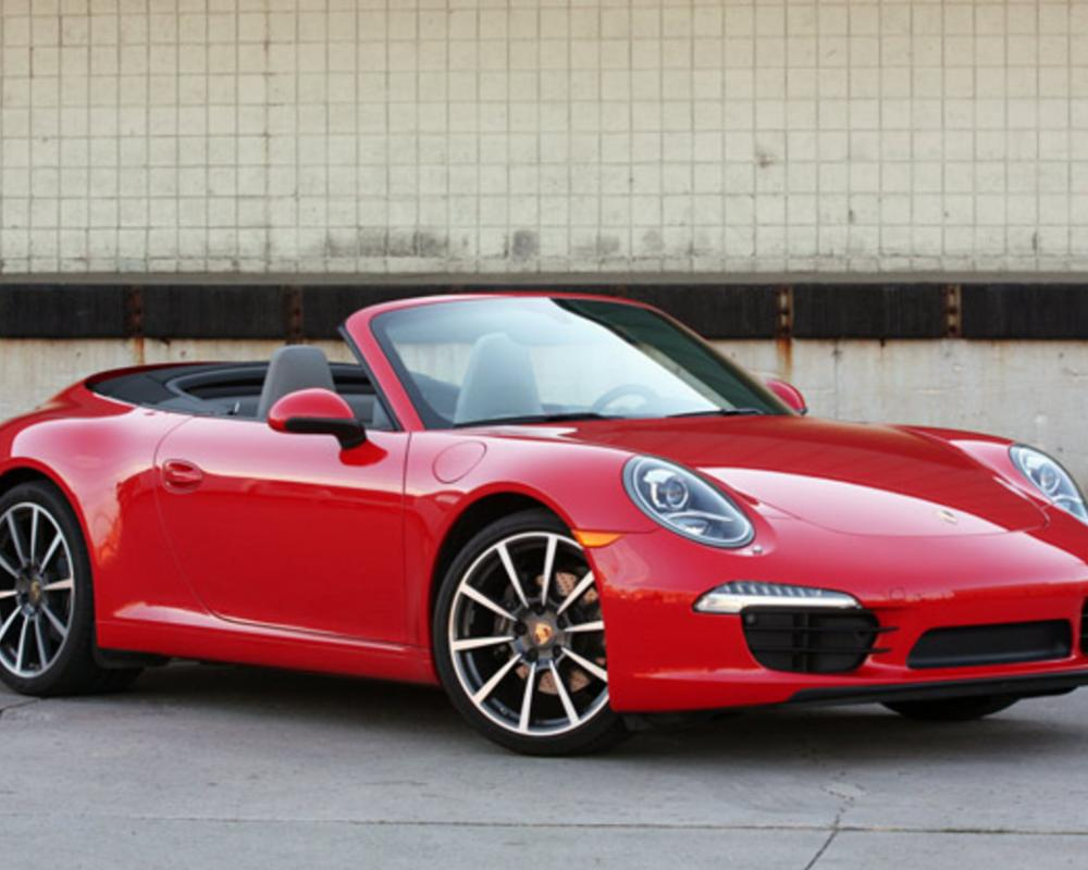 2012 Porsche 911 Carrera Cabriolet in Guards Red, front 3/4