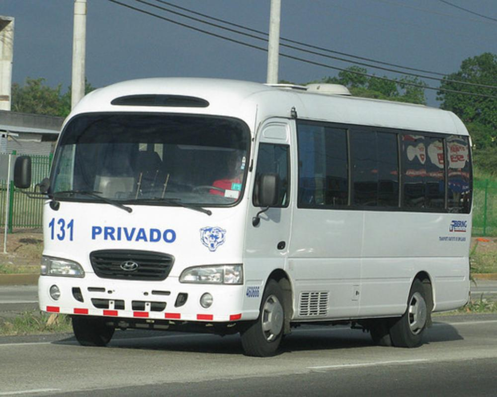Hyundai County Deluxe. Owned by Bering Truck & Bus Rental, who rents and