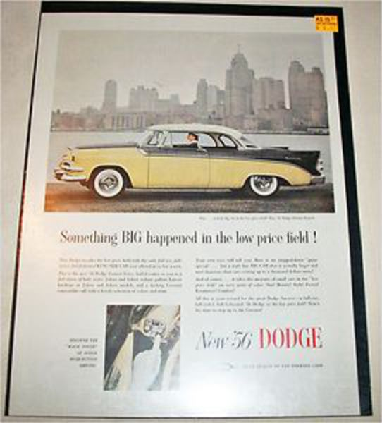 1956 Dodge Custom Royal Lancer 2 dr ht car ad | eBay