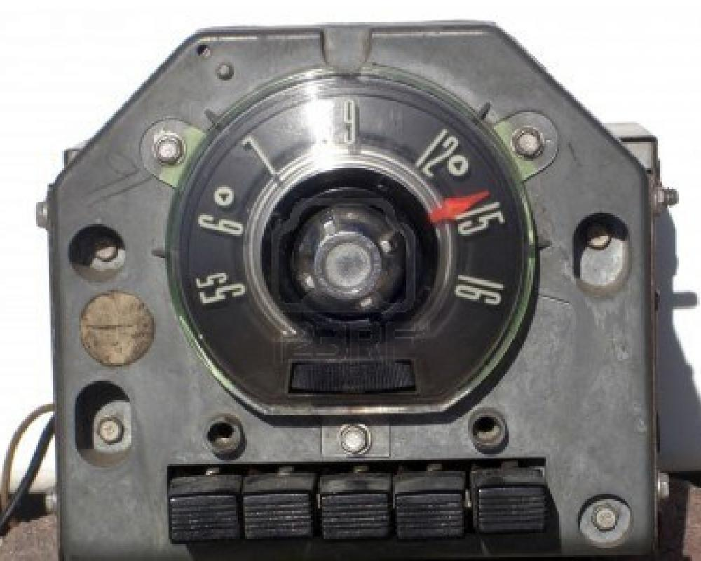 This is an antique AM only radio from a 1954 Ford streetrod Stock Photo -