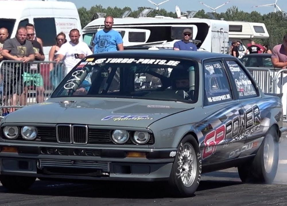 BMW 327i E30 Turbo Drag Race Test Runs - YouTube