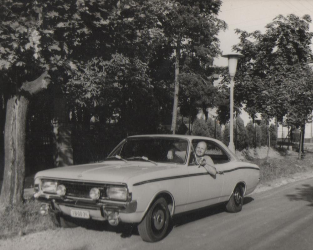 My grandfather in his Opel Rekord Sprint coupe, 1973. #OpelOwnage