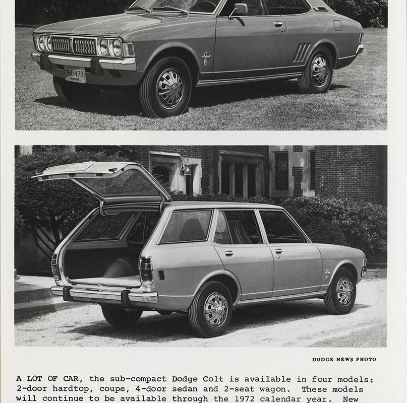 Top: Dodge Colt, hardtop- 1972. Bottom: Dodge Colt, station wagon ...